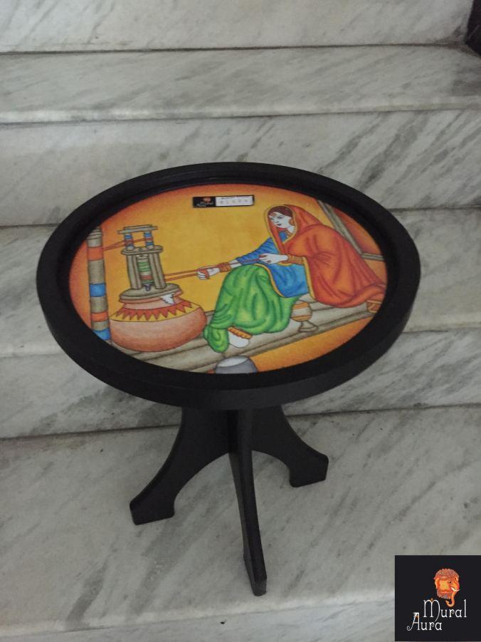 Mural Aura buddy stool rajasthani woman