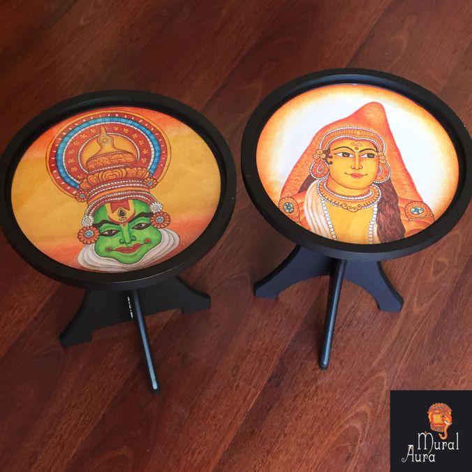 Mural Aura buddy stools kathakali faces