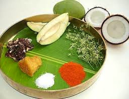 Ugadi platter , all things fresh