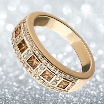 Coffee diamonds with white diamonds ring