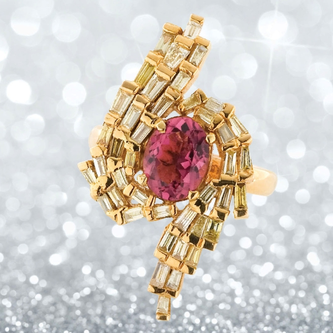 Pink Tourmaline with yellow diamonds ring