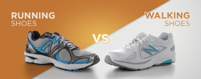 Walking vs Running shoes for demonstration purposes only ( borrowed from internet )