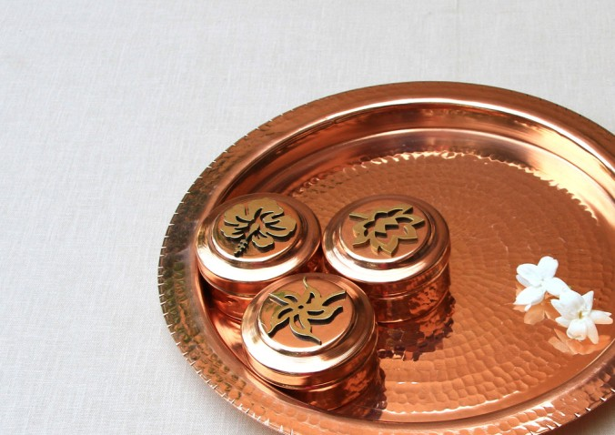 copper worship tray  Sandalwood Room,