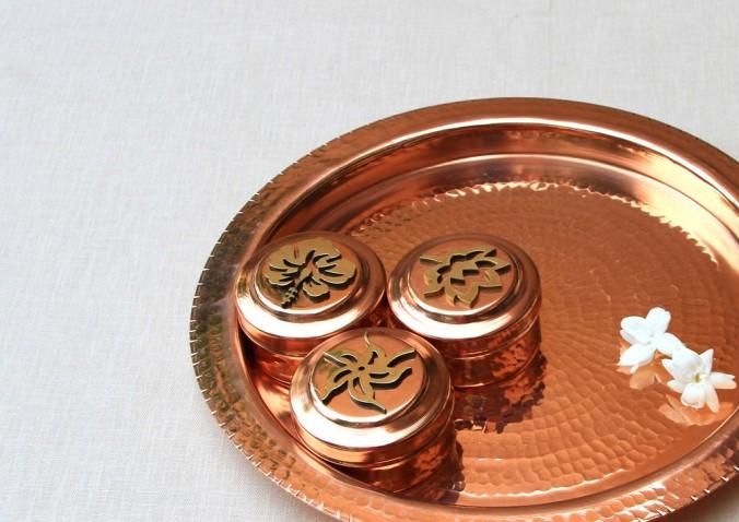 copper worship tray  Sandalwood Room,