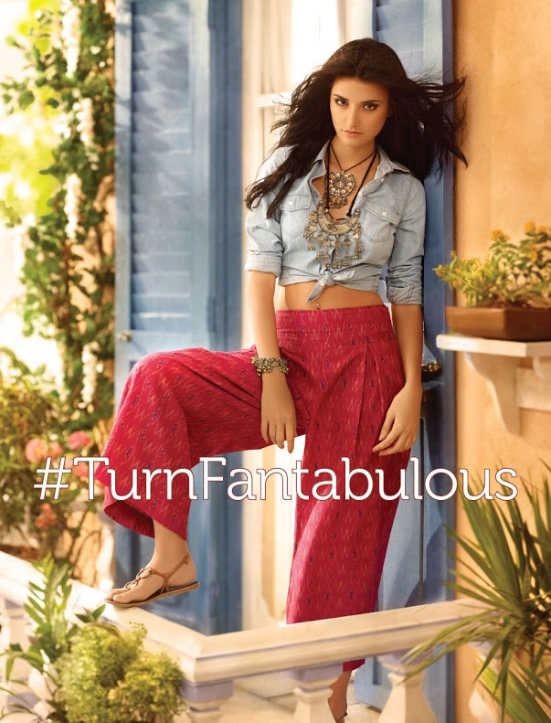boho look - red culotte pants denim shirt handmade jewellery
