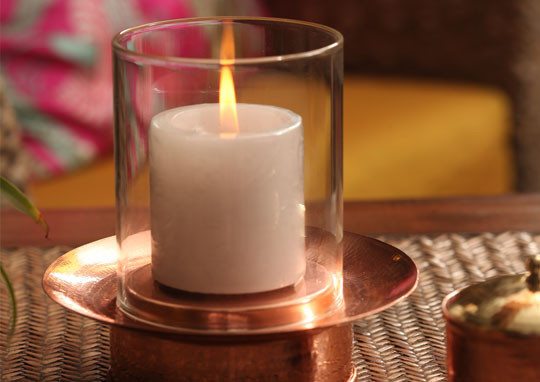 Hurricane lamp copper base the sandalwood room