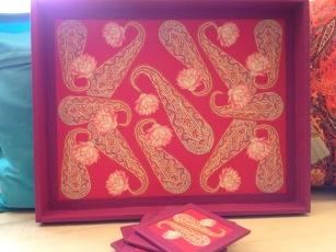 Handmade tray, coasters