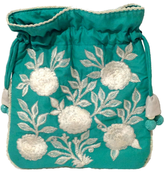 Teal drawstring bag, the sandalwood room