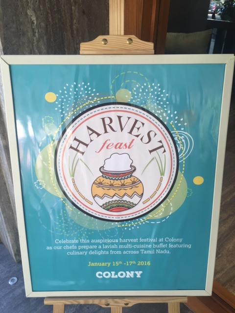 Harvest feast welcome board Colony restaurant, the raintree