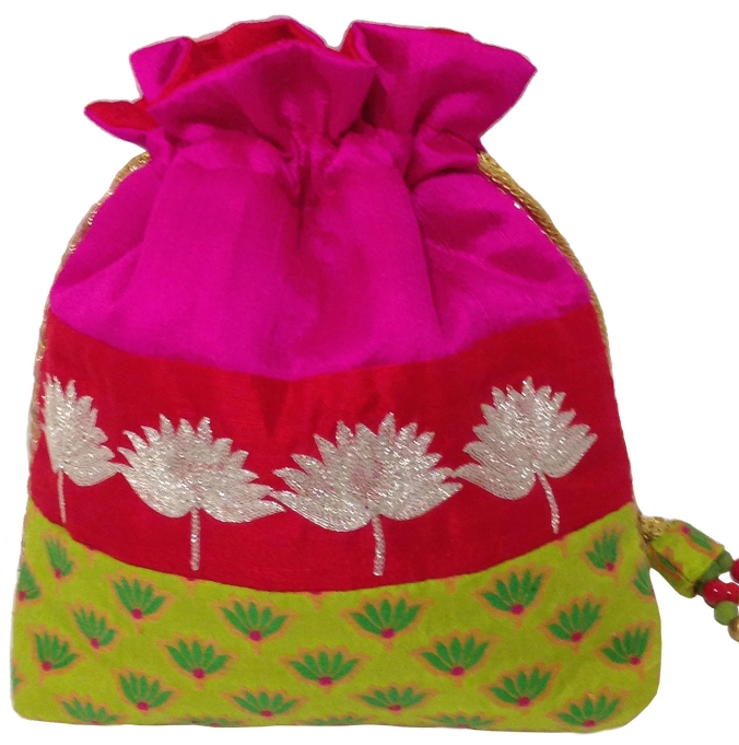 Multicolor rawsilk drawstring bag with silver embroidery, the sandalwood room