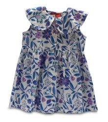 White hand block printed frock with shades of indigo, purple, fuchsia and green