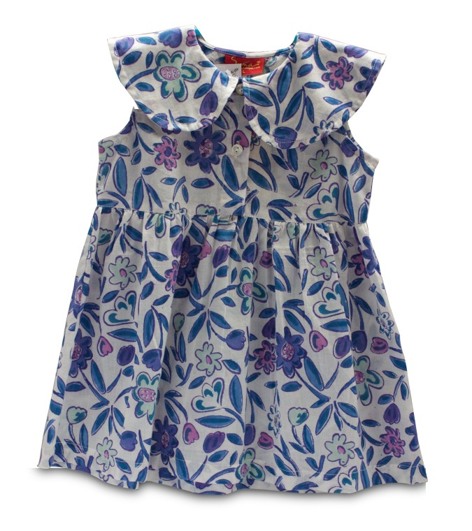 White hand block printed frock with shades of indigo, fuchsia and green