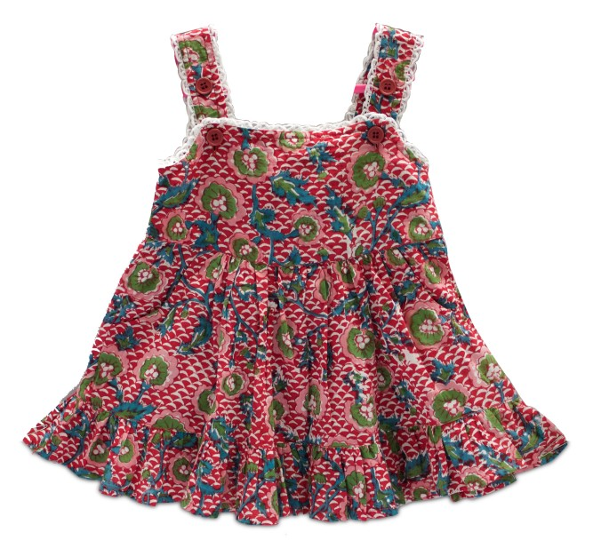 Multi-coloured hand block printed cotton frock with adjustable shoulder straps