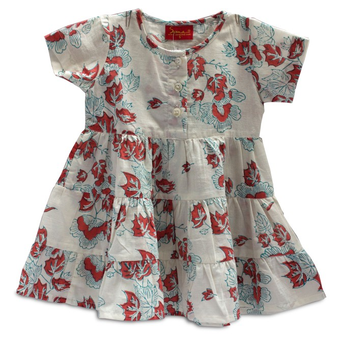 A pretty white cotton frock hand block printed in red and blue