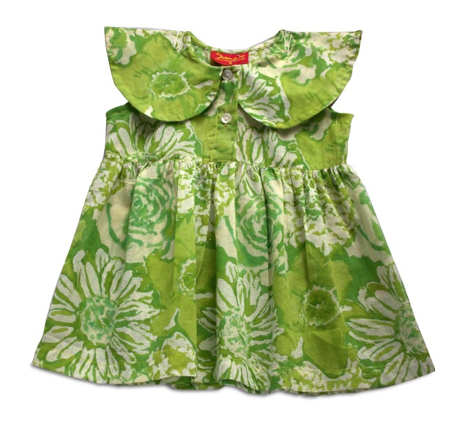 Cotton hand block printed green baby frock