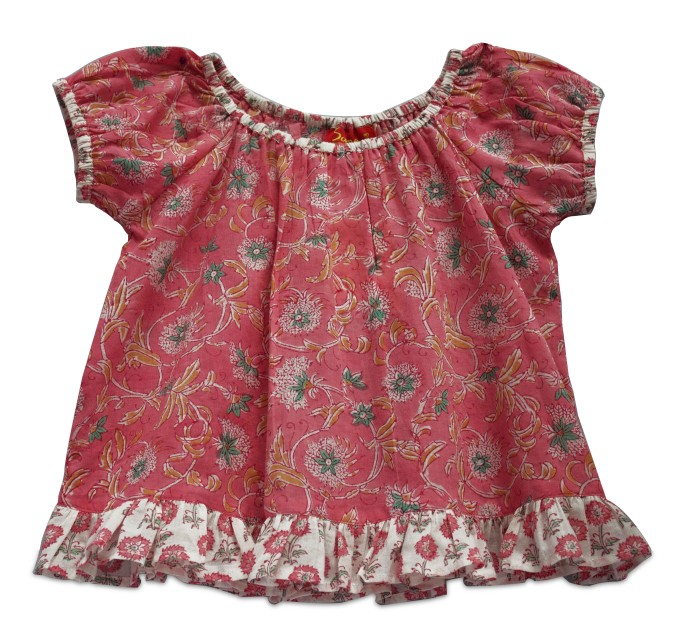 Simple red-pink cotton hand block printed frock with white frill at the hem