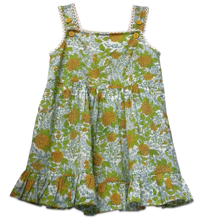 Sprightly green and yellow cotton hand block printed frock