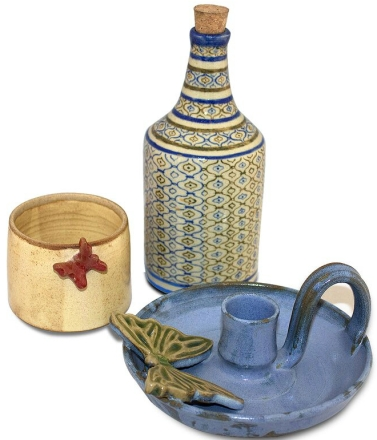 ceramic table top decor items ensemble, the sandalwood room