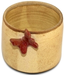mustard ceramic multipurpose holder with maroon butterfly, the sandalwood room