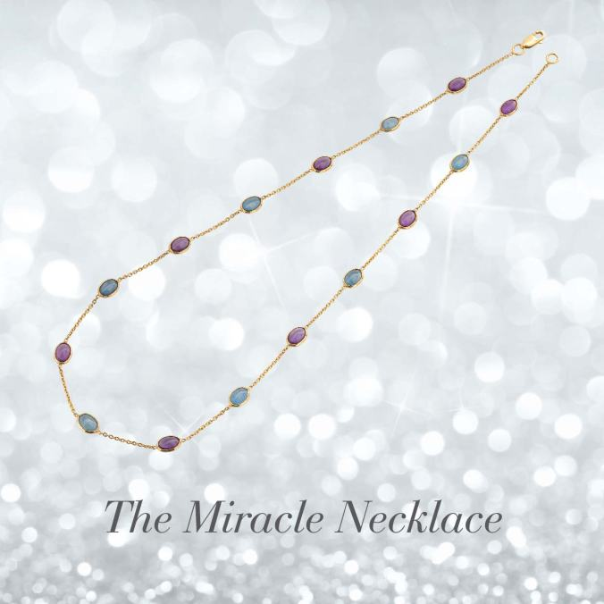 gemstone jewelry, 18 carat gold neck chain with amethyst and aquamarine, the sandalwood room