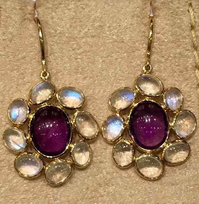 gemstone jewelry, Amethyst and Moonstone hook ear rings in 18 carat gold, The Sandalwood Room