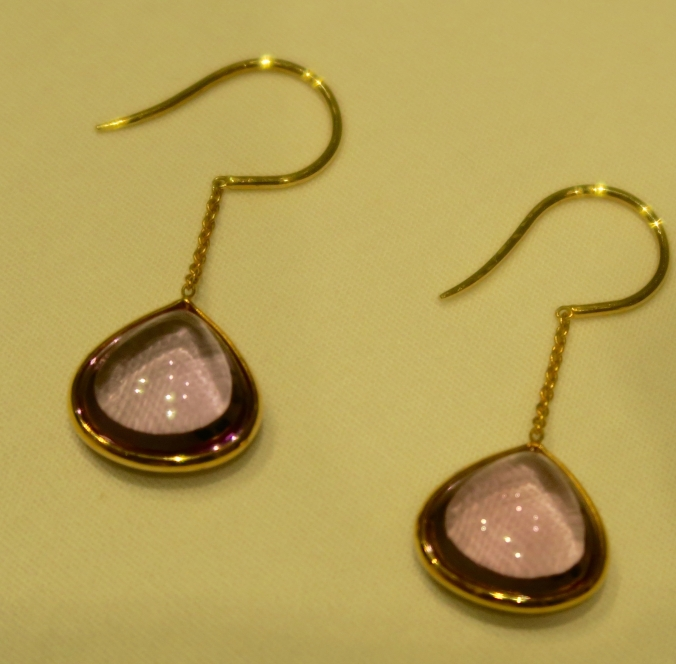 gemstone jewelry Amethyst hook ear rings 18 carat gold, the sandalwood room