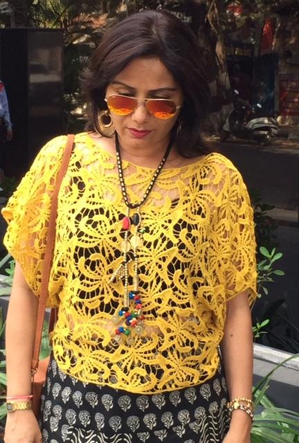 Boho black skirt yellow lace crop top mayabazar caravan-soul necklace