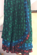 multi-coloured layered long skirt with hand block print