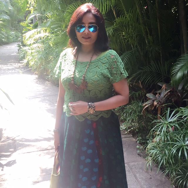 boho look layered skirt hand block printed and green lace croptop