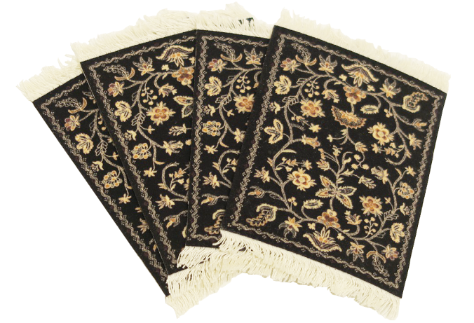 Lextra Flock Textured Country Heritage Stars 4 pc coaster rugs the sandalwood room