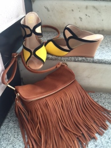 brown fringe sling bag with yellow wedge sandals