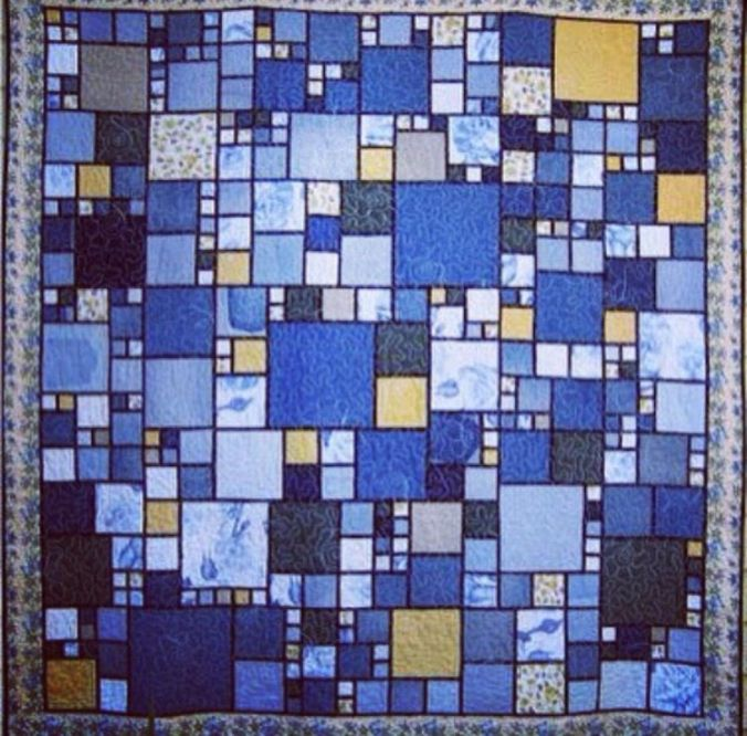 Indigo Collage on quilt, the sandalwood room