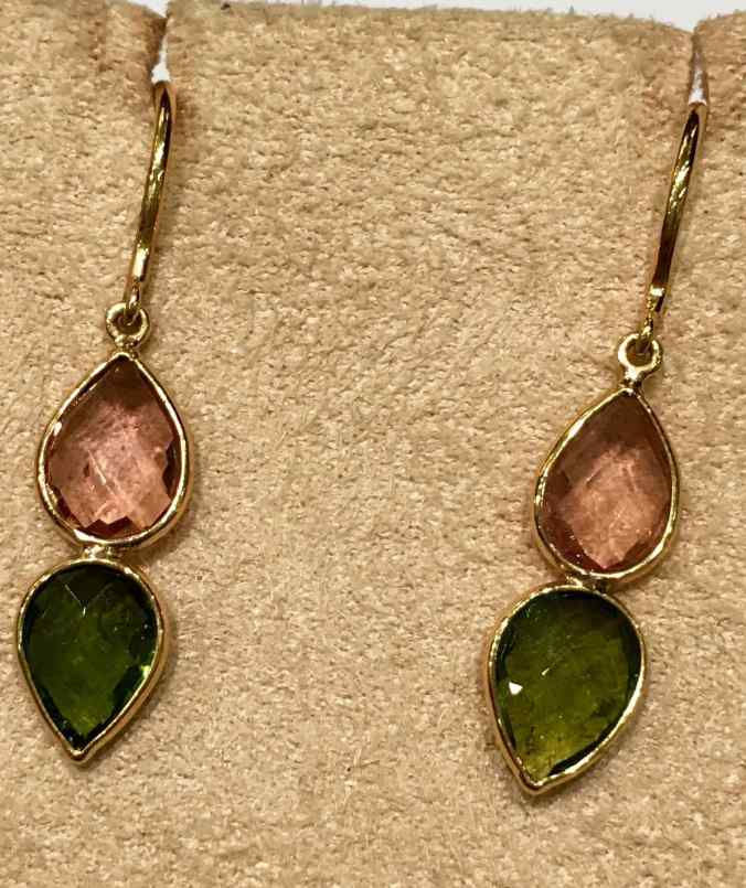 gemstone jewelry tourmaline hook ear rings in 18 carat gold, the sandalwood room