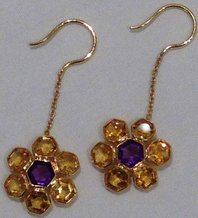 gemstone jewelry with citrine and amethyst hook ear rings in 18 carat gold, the sandalwood room