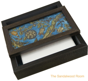 decorative tissue box with openable lid and paper napkins within, the sandalwood room