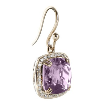 Amethyst n Diamond hoop earring