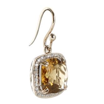Beer Quartz n Diamond hoop earring