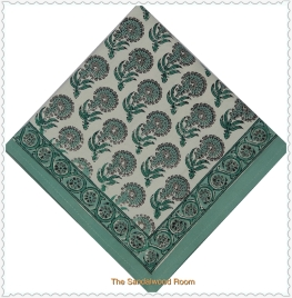 Handmade blockprinted Anokhi dinner napkins with organic dyes , the sandalwood room
