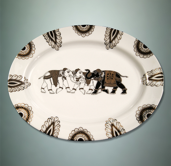 ishika-oval-plate-with-elephants-and-motif-patterns, the sandalwood room