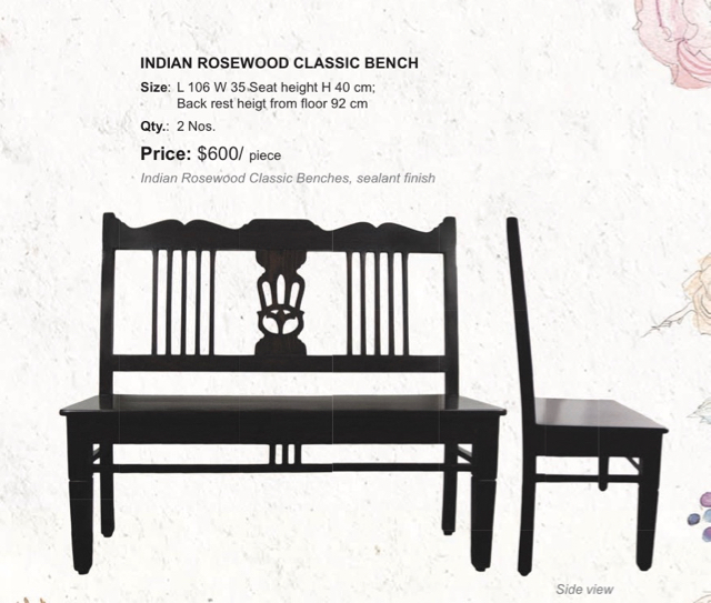 Classic Bench Indian Rosewood, The Sandalwood Room
