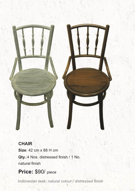 indonesian wood distress finish natural finish chairs