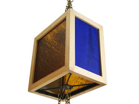 Box lamp with glass n fabric