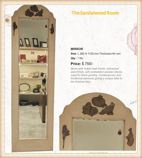 Long wall mirror with decorative frame and hand block print blocks inlaid, the sandalwood room