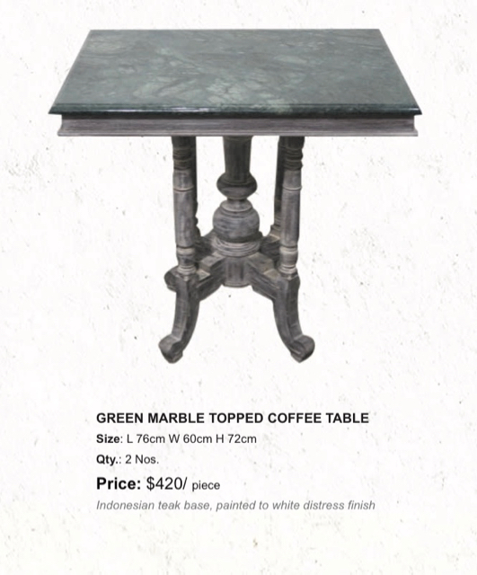 green marble topped coffee table, the sandalwood room