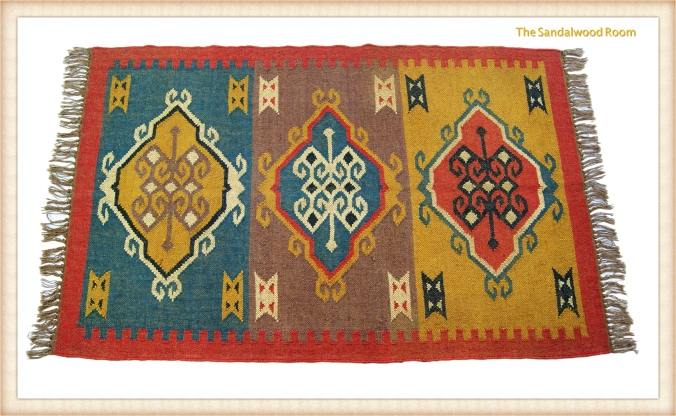 tsr-rug-blue-brown-mustard_fotor hand knotted, the sandalwood room