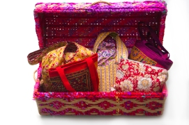 Bright and beautiful rope trunk, handwoven, with storage