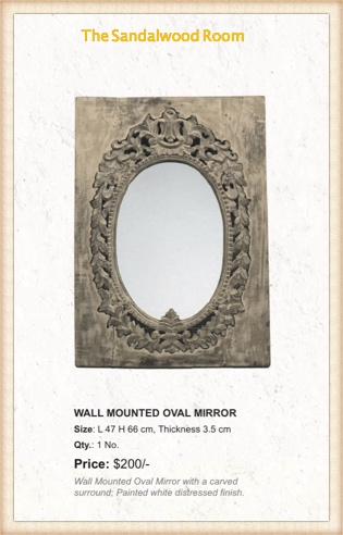 Wall mounted oval mirror with a distress finish