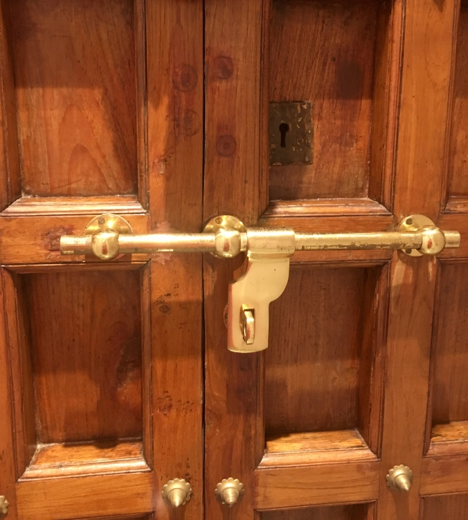 indian teak wood shutters with brass knobs, brass shooter bolt and handle