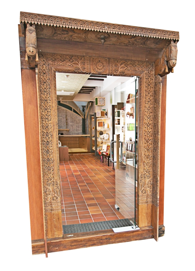 80 year old antique hand carved door ensemble in indian teak, the sandalwood room