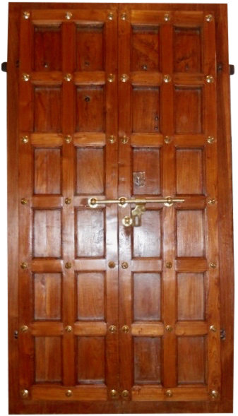 handcrafted indian teak shutters with brass knobs, shooter bolt and handle, the sandalwood room